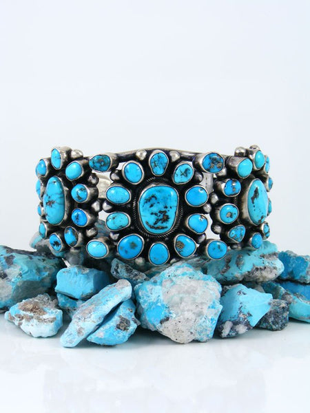 Native American Natural Sleeping Beauty Turquoise Cuff Bracelet