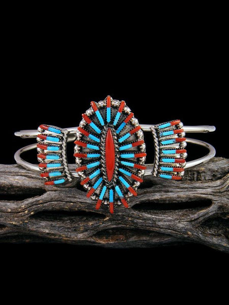 Sterling Silver Turquoise and Coral Needle Point Zuni Bracelet