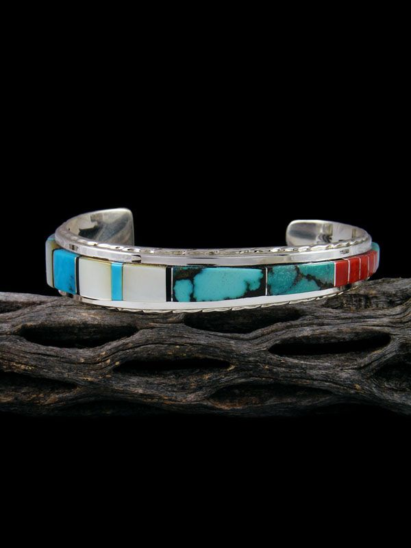 9261cf36a98 Zuni Multistone Inlay Sterling Silver Cuff Bracelet by Gilbert ...