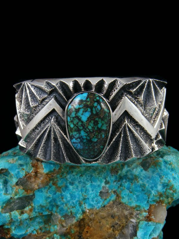 Native American Tufa Cast Sterling Silver Cloud Mountain Turquoise Bracelet