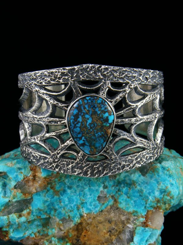 Native American Tufa Cast Sterling Silver Spiderweb Cloud Mountain Turquoise Bracelet