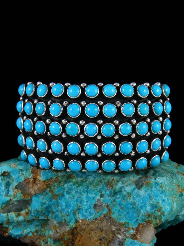 Native American Natural Sleeping Beauty Turquoise Row Bracelet