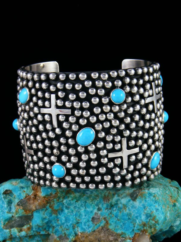 Native American Jewelry Sterling Silver Turquoise Cross Cuff Bracelet