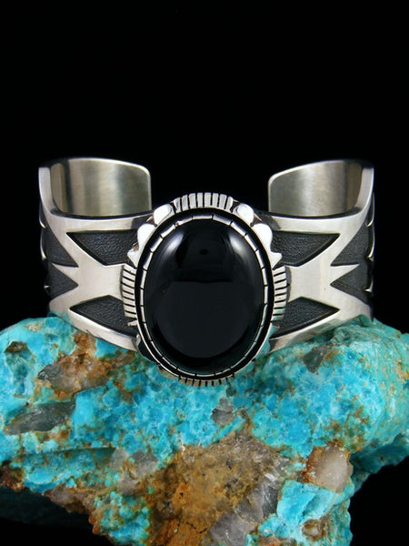 Native American Heavy Black Onyx Cuff Bracelet
