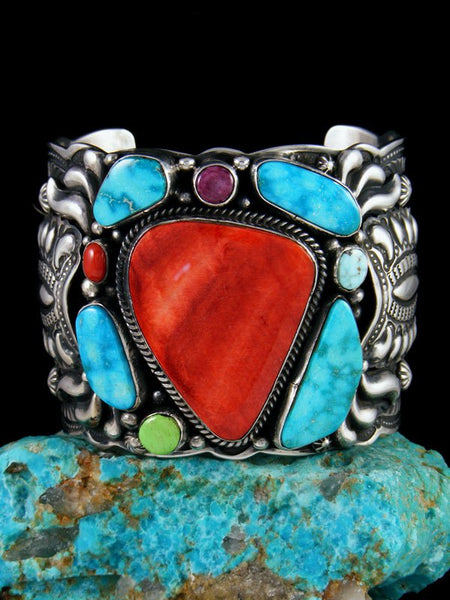 Native American Sterling Silver Spiny Oyster Picasso Bracelet