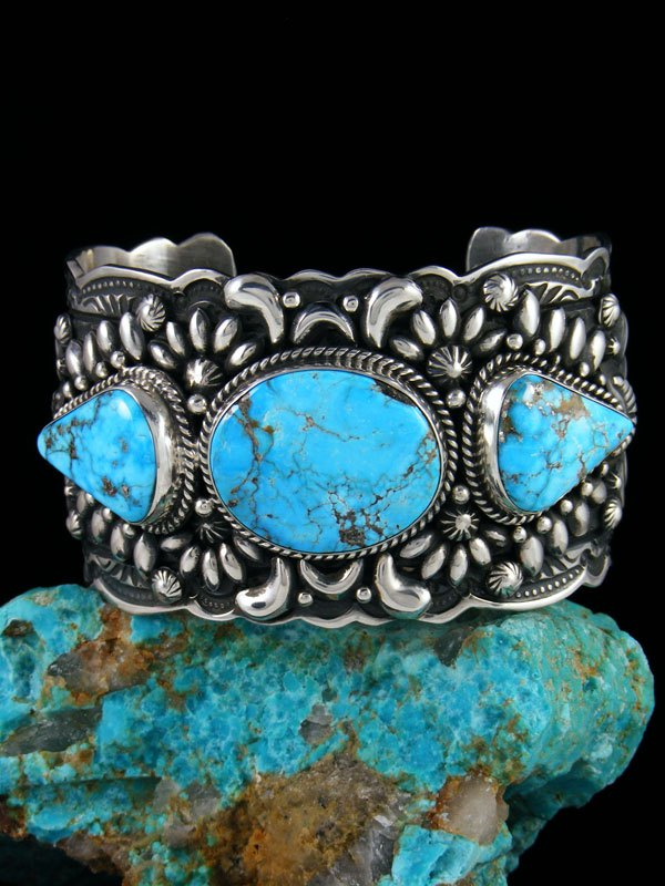 1a5ffa9564a Native American Indian Sterling Silver Kingman Turquoise Cuff Bracelet