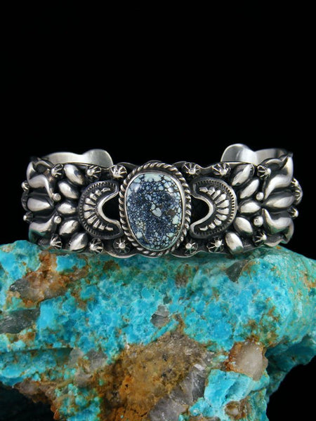 Native American Indian Sterling Silver Damele Variscite Cuff Bracelet