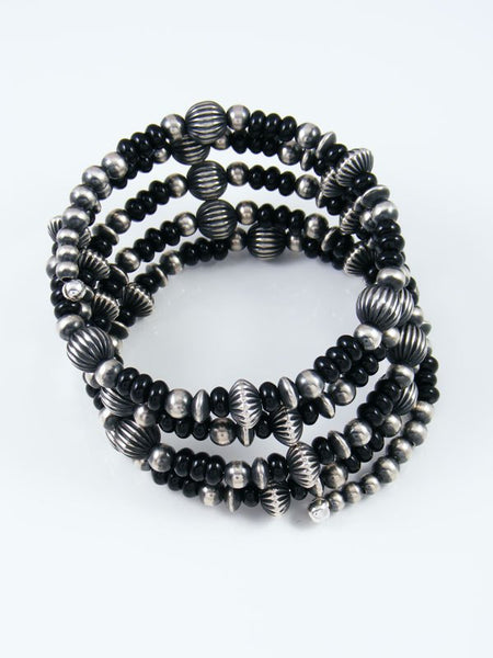 Native American Sterling Silver Black Onyx Bead Wrap Bracelet