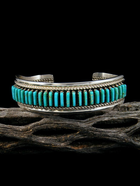 Sterling Silver Turquoise Zuni Petit Point Row Bracelet