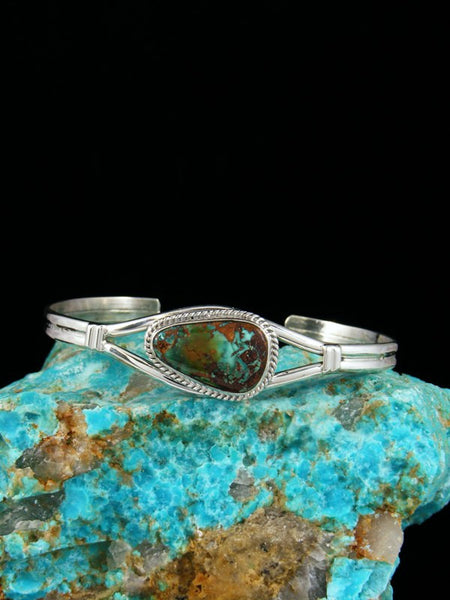 Native American Sterling Silver Candelaria Turquoise Bracelet