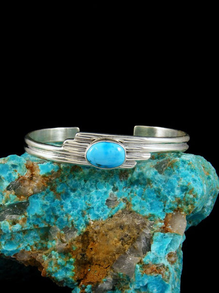 Native American Sterling Silver Cloud 9 Turquoise Bracelet