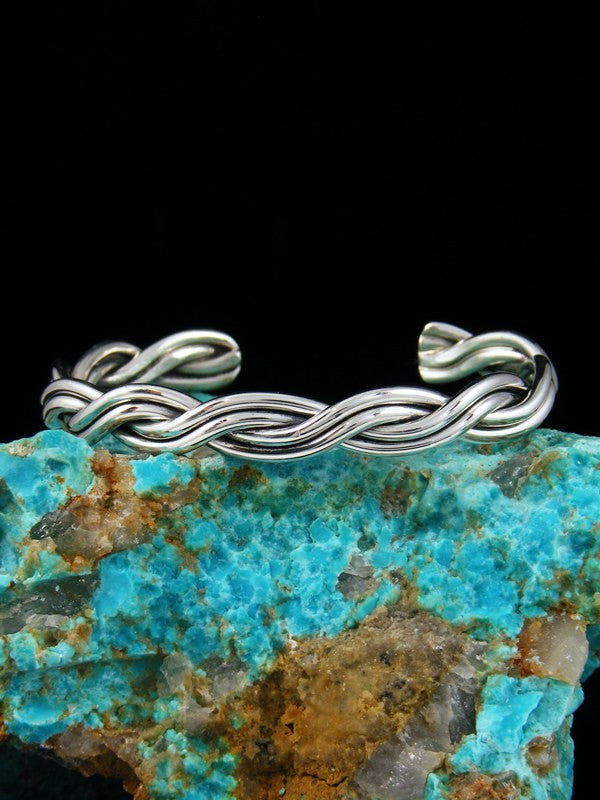 Small Navajo Sterling Silver Twisted Cuff Bracelet