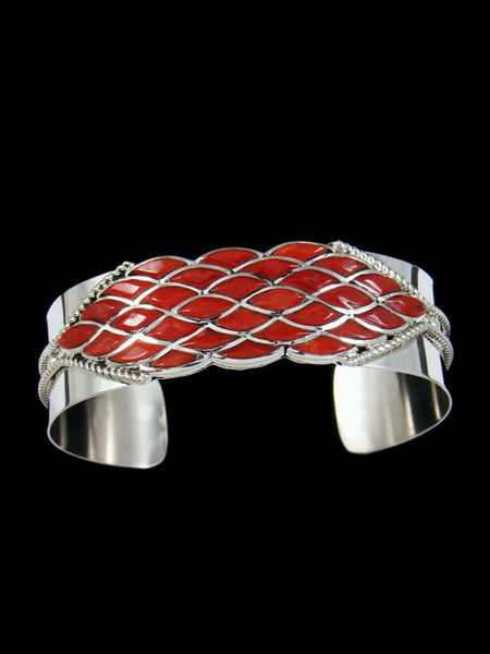Sterling Silver Zuni Coral Inlay Cuff Bracelet
