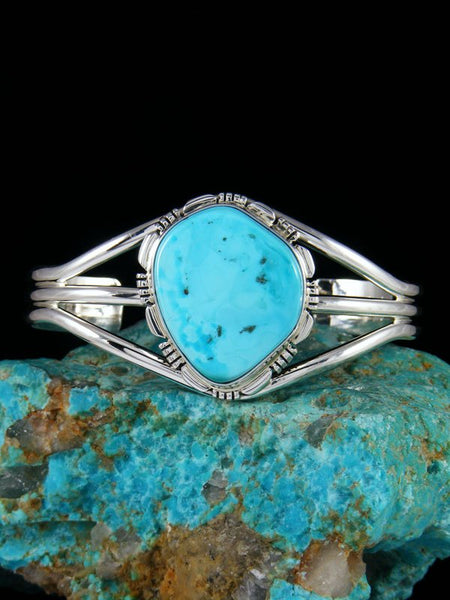 Native American Sterling Silver Sleeping Beauty Turquoise Cuff Bracelet