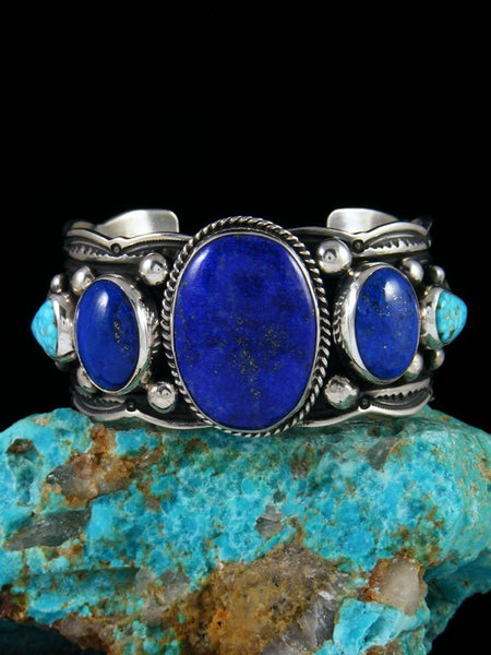 Native American Sterling Silver Lapis and Kingman Turquoise Cuff Bracelet