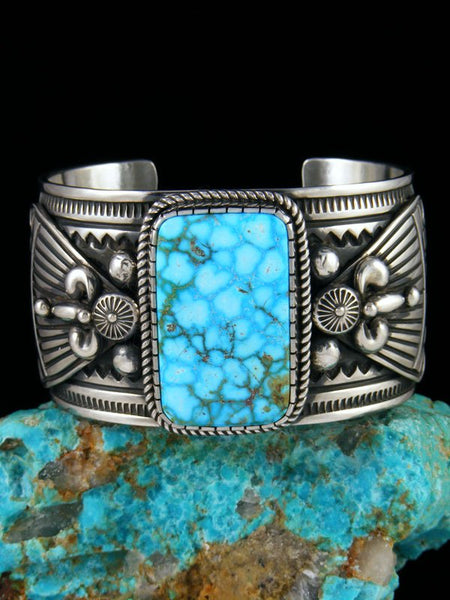 Native American Indian Jewelry Kingman Turquoise Cuff Bracelet