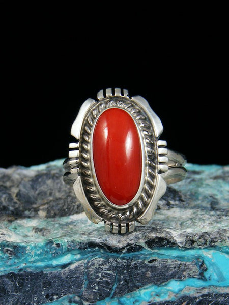 Red Coral Sterling Silver Ring, Size 6