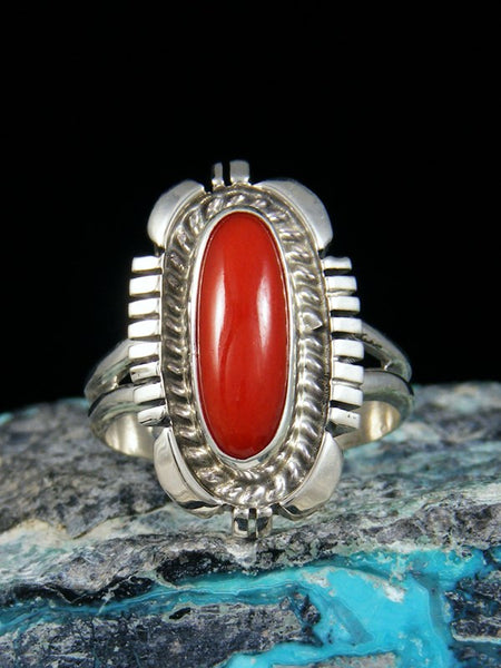 Red Coral Sterling Silver Ring, Size 7
