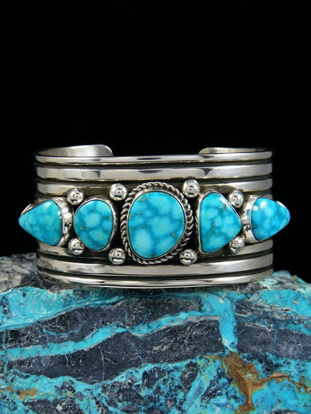 Native American Indian Jewelry Sterling Silver Natural Kingman Turquoise Bracelet