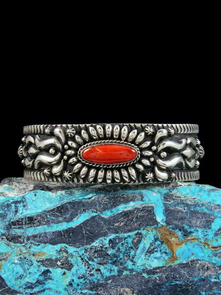 Native American Sterling Silver Natural Coral Bracelet