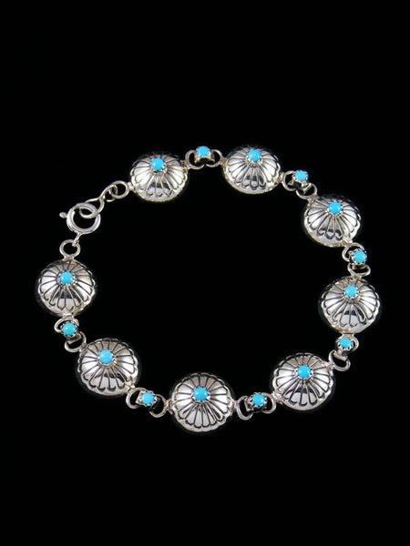 Native American Turquoise Stamped Sterling Silver Link Bracelet