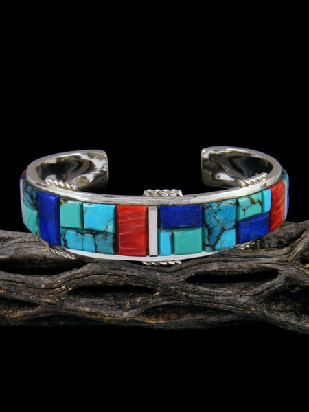 Navajo Turquoise and Spiny Oyster Sterling Silver Cobblestone Inlay Cuff Bracelet