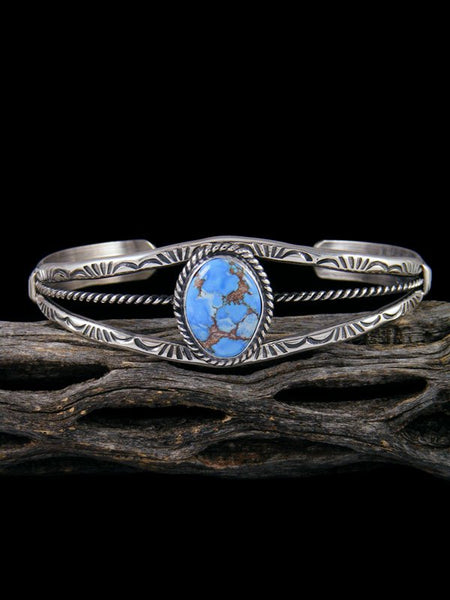 Native American Golden Hill Turquoise Sterling Silver Cuff Bracelet