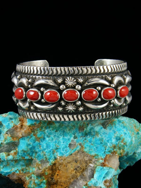 Native American Sterling Silver Natural Coral Cuff Bracelet