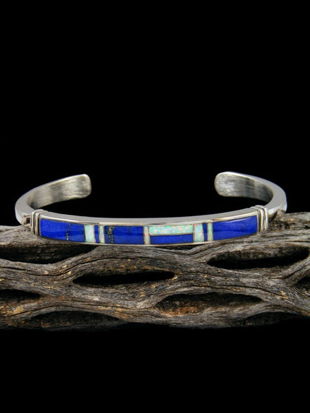 Native American Indian Blue Lapis and Opal Inlay Bracelet