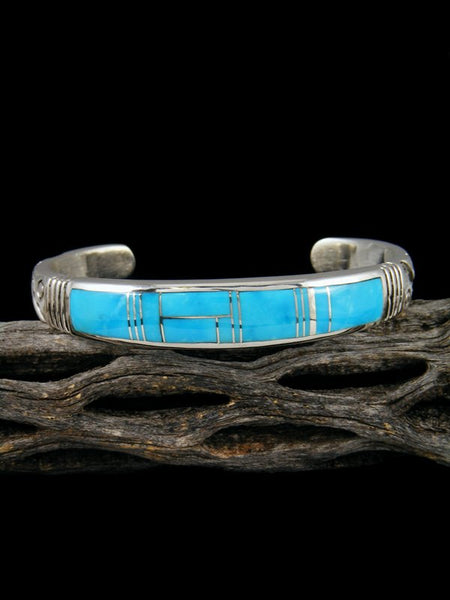 Native American Indian Inlay Turquoise Cuff Bracelet