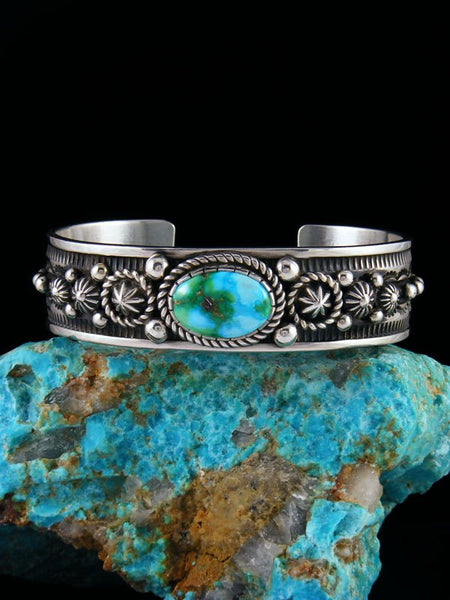 Navajo Jewelry Sterling Silver Sonoran Turquoise Bracelet