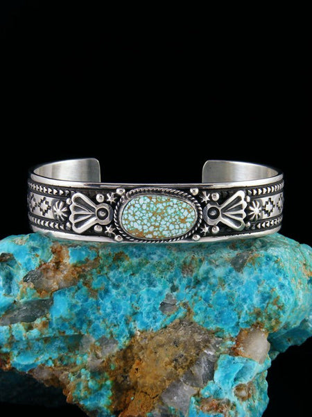 Native American Sterling Silver Number 8 Turquoise Cuff Bracelet