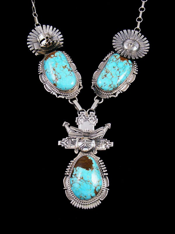Native American Sterling Silver #8 Turquoise Triple Kachina Necklace