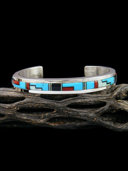 Native American Sterling Silver Multistone Inlay Bracelet