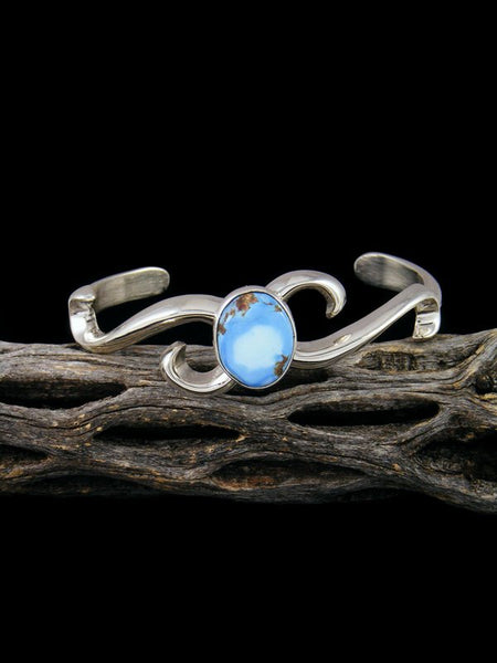 Native American Sterling Silver Sandcast Golden Hill Turquoise Bracelet