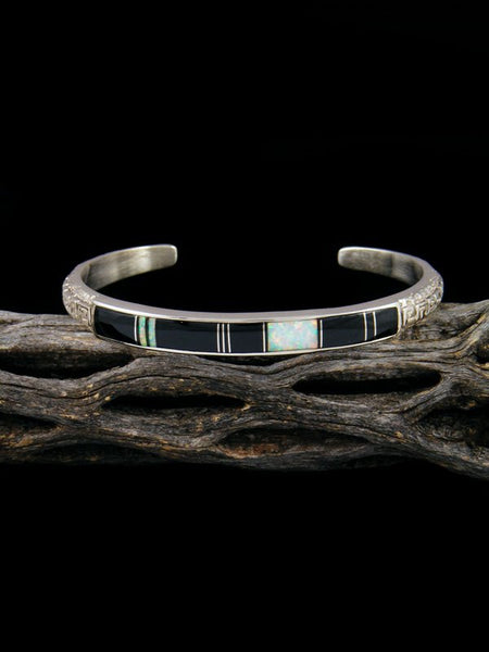 Native American Sterling Silver Onyx Inlay Bracelet