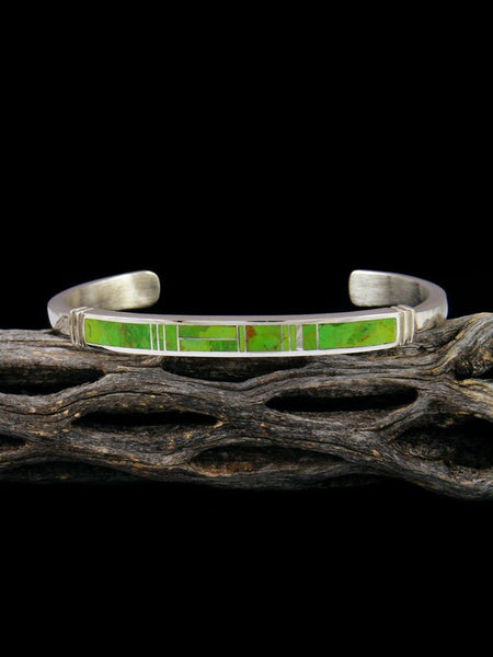 Native American Sterling Silver Gaspeite Inlay Bracelet