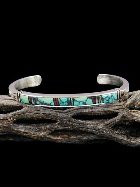 Native American Sterling Silver Turquoise Inlay Bracelet