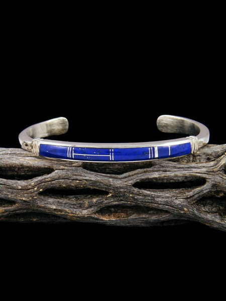 Native American Sterling Silver Lapis Inlay Bracelet
