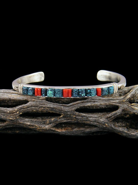 Native American Sterling Silver Turquoise Cornrow Bracelet