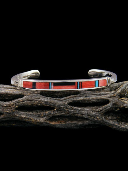 Native American Sterling Silver Coral Inlay Bracelet