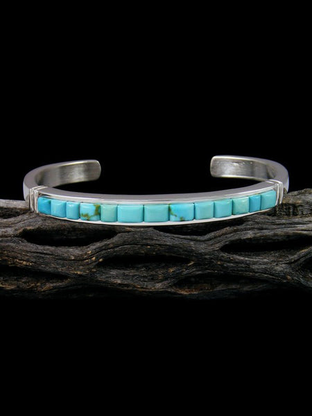 Native American Sterling Silver Turquoise Cornrow Inlay Bracelet