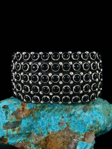 Native American Sterling Silver Onyx Row Cuff Bracelet