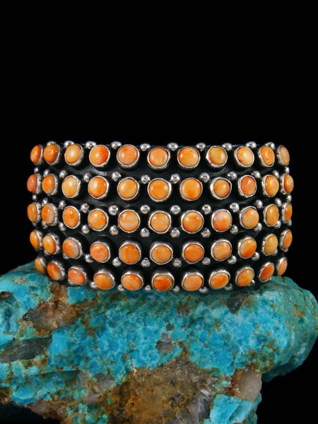 Native American Sterling Silver Spiny Oyster Row Cuff Bracelet
