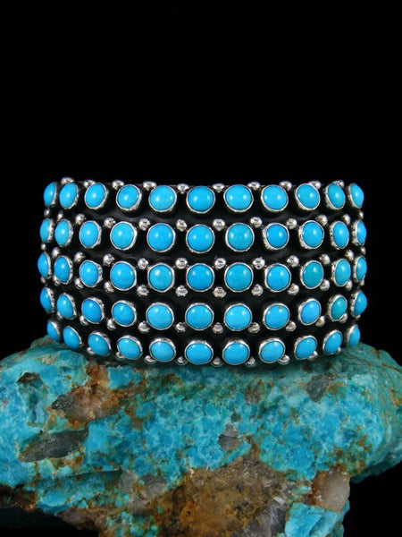 Native American Sterling Silver Turquoise Row Cuff Bracelet