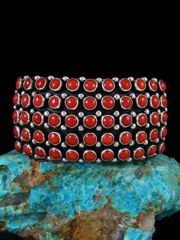 Native American Sterling Silver Coral Row Cuff Bracelet