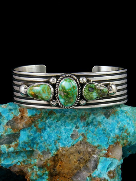 Navajo Jewelry Sterling Silver Natural Sonoran Gold Turquoise Bracelet