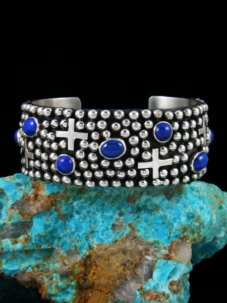 Native American Indian Jewelry Sterling Silver Lapis Cross Cuff Bracelet