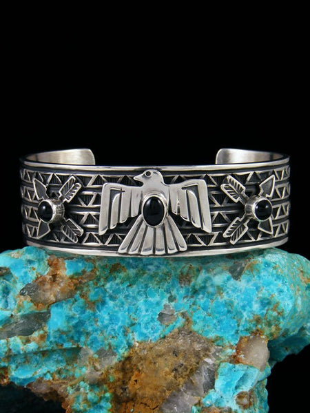 Native American Onyx Sterling Silver Thunderbird Cuff Bracelet