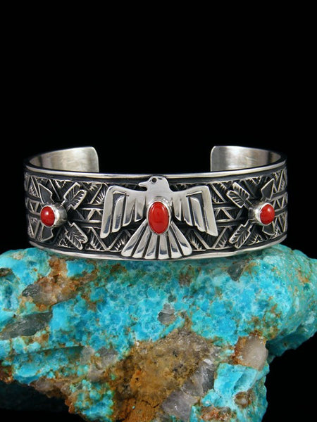 Native American Coral Sterling Silver Thunderbird Cuff Bracelet